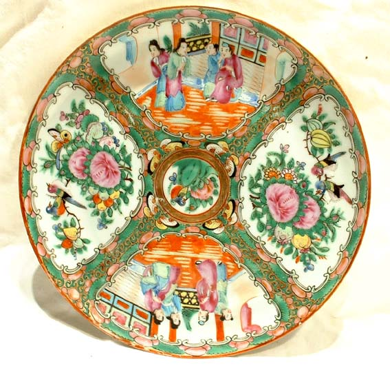 Chinese Rose Mandarin Plate Ching Qing Dynasty 19th c