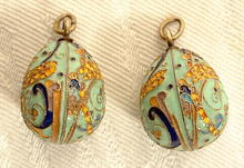 Authentic Antique Imperial Russian Gilded Silver and Enamel Pair of Ester Eggs, circa 1900