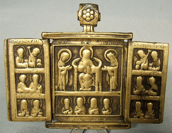 Antique Russian Bronze Triptych Icon, 17th c