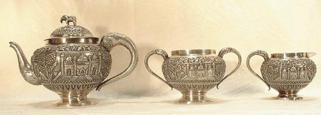 ANTIQUE ISLAMIC INDIA SOLID SILVER TEA SET