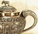 ANTIQUE ISLAMIC INDIA SOLID SILVER TEA SET