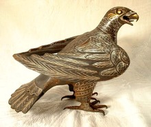 PERSIAN ISLAMIC DAMASCENED STEEL FALCON