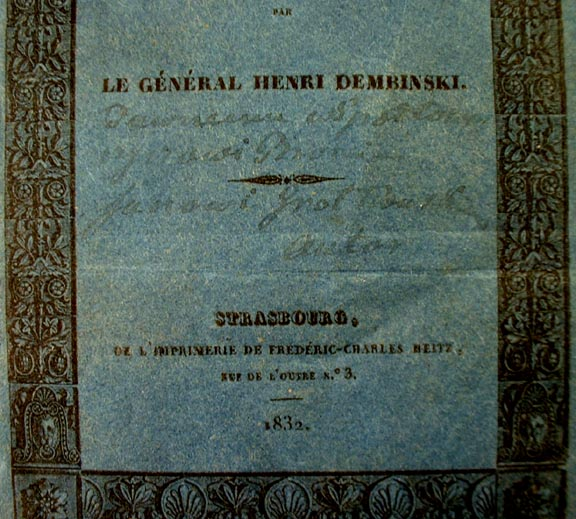 POLISH GENERAL DEMBINSKI HAND WRITTEN DEDICATION ON THE COVER of his book 1832