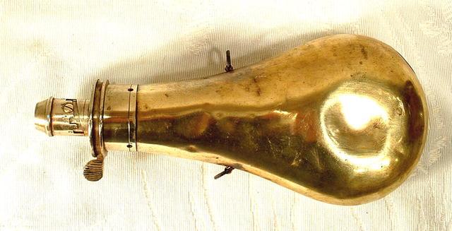 Antique Bras Gun Powder Flask