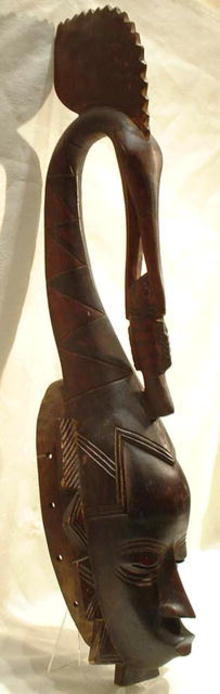 SOLD OLD AFRICAN WOODEN MASK, IVORY COAST