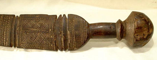 OLD AFRICAN WOODEN SWORD, SCEPTER, CLUB