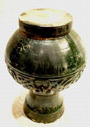 Antique Chinese Han Dynasty Hu Green Glaze Pottery
