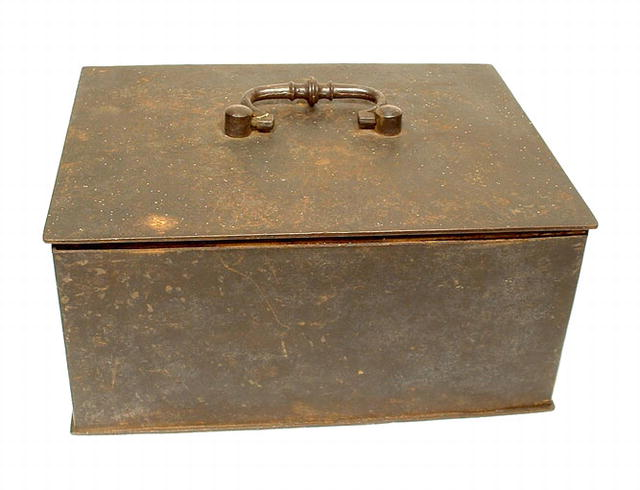 ANTIQUE GERMAN IRON BOX, 18th century