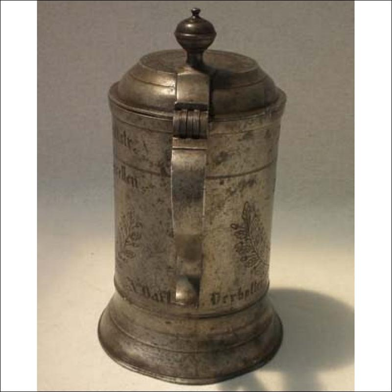 Antique Polish Pewter Tankard Elbląg 1801 Carpenters Guild Elbing