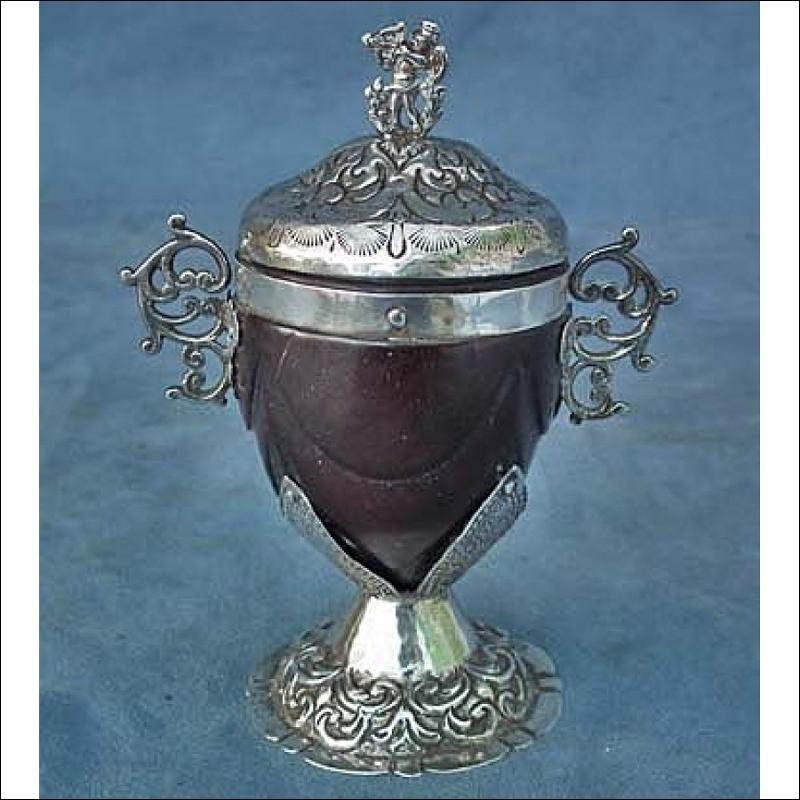 SOLD  Antique 18th century European Silver-mounted Coconut Cup