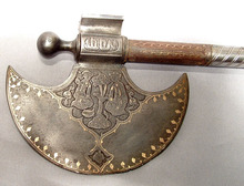 Antique Indo-Persian Islamic Saddle Axe,  18th