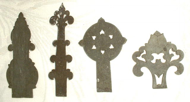 ANTIQUE PEWTER CABINET HINGES PATTERN, 18TH