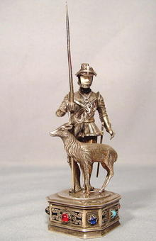 Antique Silver Figure of St. Hubert Armor Sword