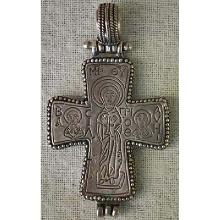 Large Antique Byzantine Silver Cross Enkolpion circa 12th -15th century