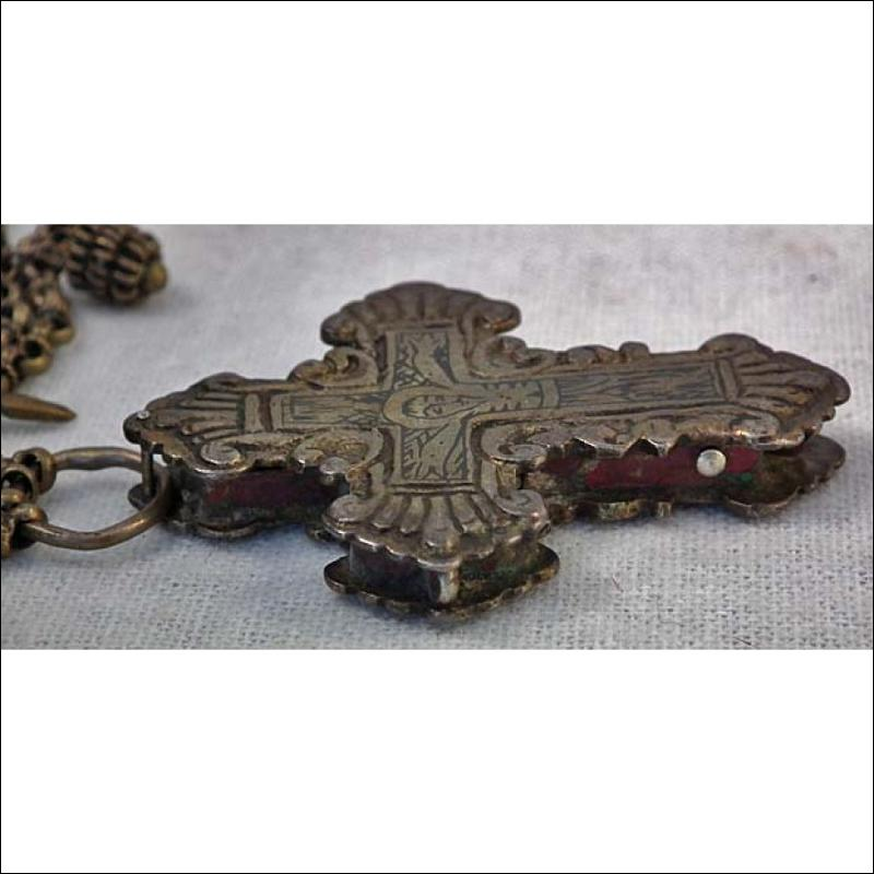 Antique Parcel-Gilt Silver Post-Byzantine Orthodox Pectoral Reliquary Cross 18th century