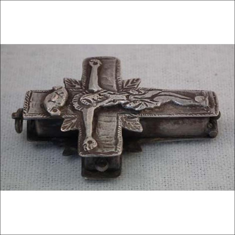 Antique Post Byzantine Silver Orthodox Pectoral Reliquary Cross 16th -17th century