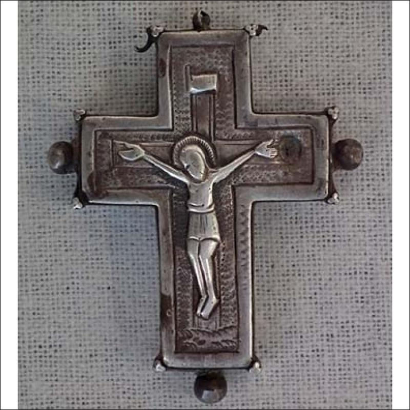 SOLD Antique Silver Iron Byzantine Pectoral Reliquary Cross 9th -13th century