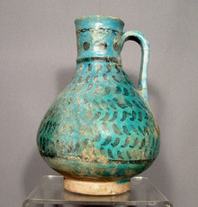 Antique Ceramic Turquoise Glazed Jug, Persia
