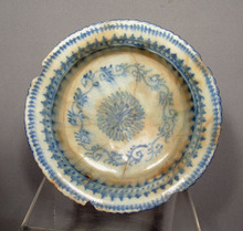 Timurid Islamic Ceramic Blue & White Bowl 15th