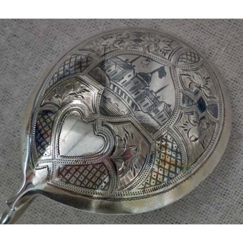 Antique Imperial Russian silver and niello spoon Moscow 1875 19th century