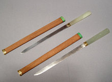 ANTIQUE PAIR CHINESE SLEEVES DAGGERS JADE HILTS