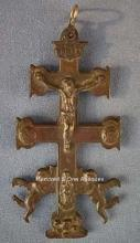 Antique Spanish Bronze Reliquary Cross Caravaca Crucifix 18th c