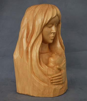 Wood Sculpture Mother With Child by French Canadian Quebecois Artist Andre-M.Bourgault