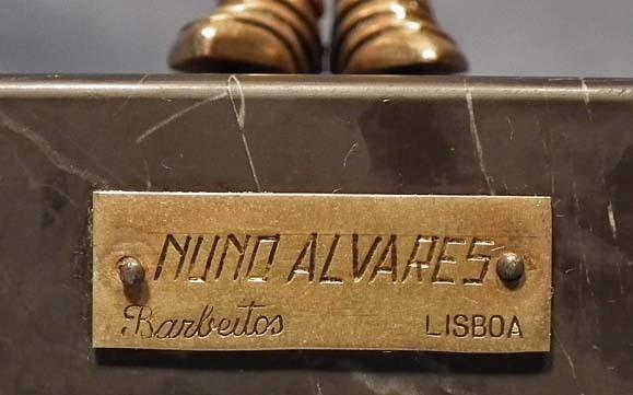 Antique Portuguese Bronze Sculpture Knight in Armor Nuno Alvares Portugal