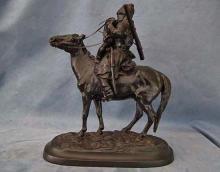 Russian Kasli Iron Sculpture Cossack The Farewell Kiss after Lansere