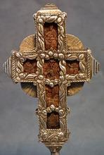 SOLD Antique Ukrainian Orthodox Greek Silver & Wood Blessing Altar Cross 18th c