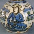 Antique Qajar Dynasty Persian Islamic Ceramic Bottle Flask 19th c