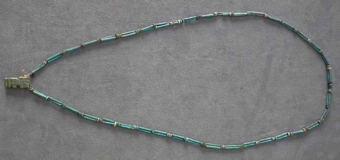 SOLD Ancient Egyptian Blue Faience Necklace with God Shu Amulet
