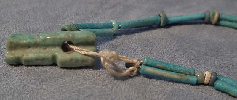 Ancient Egyptian Blue Faience Necklace with God Shu Amulet
