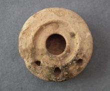 Ancient Imperial Roman Terracotta Oil Lamp with Three Flames Nozzles 1st–4th Century AD