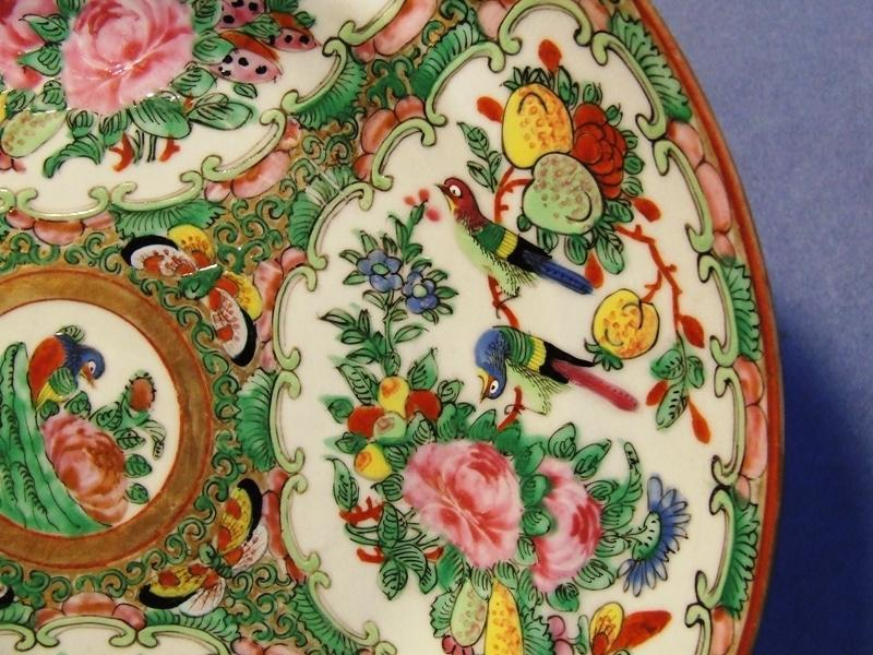 Antique Chinese Hand Painted Famille Rose Enameled Plate Qing Dynasty 19th C