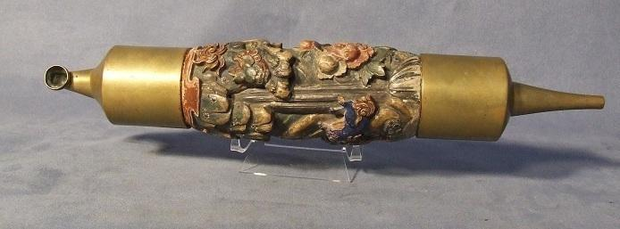 Large Antique 19th c Chinese Pipe Ornately Carved In Polychrome Wood
