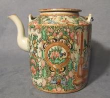 Antique Chinese Mandarin Rose Tea Pot Quing Dynasty 19th c
