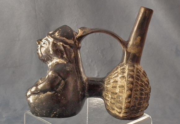 Antique Pre-Columbian Moche Ceramic Figural Whistling Vessel