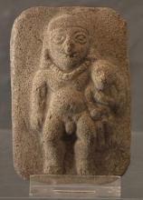 Antique Pre-Columbian Nude Male Ceramic Plaque Jama Coaque 300 BC - 400 AD