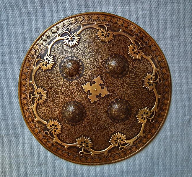 Antique Islamic Indo Persian Gold Inlaid Steel Shield Dhal Separ 18th c Mughal India