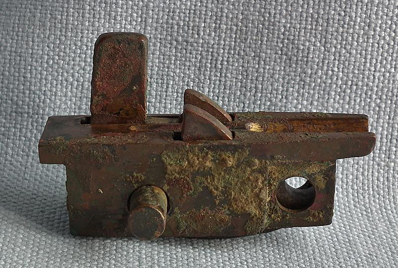 Ancient Chinese Han Dynasty BC 206-AD 220 Gold Overlaid Bronze Crossbow Mechanism