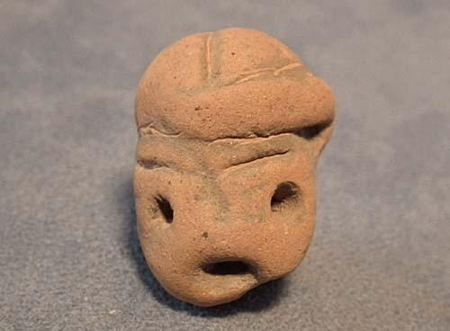 Antique Pre-Columbian Mayan Terracotta Small Head Circa 200 AD to 600 AD