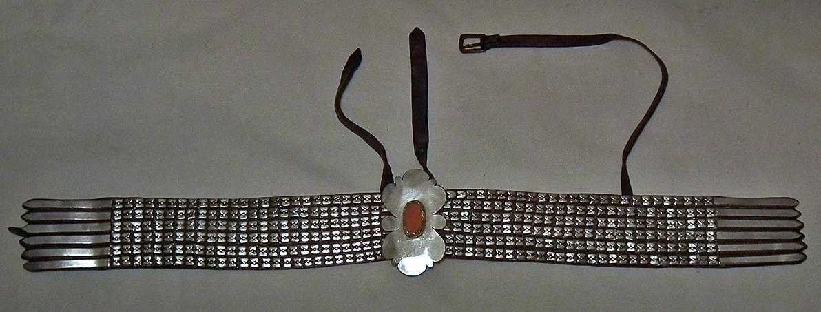Antique Russian Islamic Turcoman Tekke Silver Mounted Turkmen Horse trapping Neckband