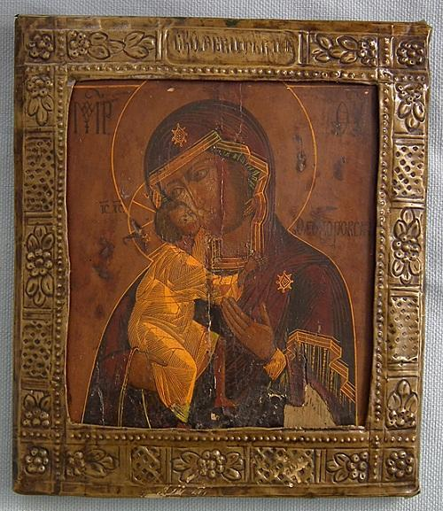 Authentic Antique 18th -19th century Russian Orthodox Icon Mother of God Fedorovskaya