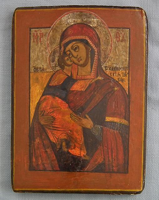Authentic Antique 18th century Russian Orthodox Icon Mother of God Vladimirskaya