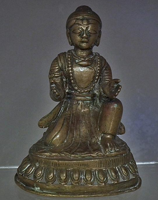 Antique Nepalese Newari Bronze Donor Figure 17th -19th Century Nepal