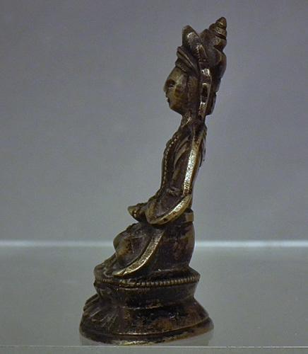 Antique 18th -19th century Sino Tibetan Small Bronze Figure of Guanyin Quan Yin