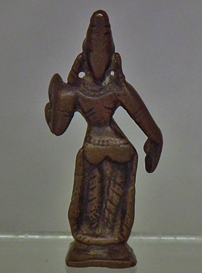 Antique 16th-18th c India Hindu Miniature Bronze Figure Of Sri-Lakshmi