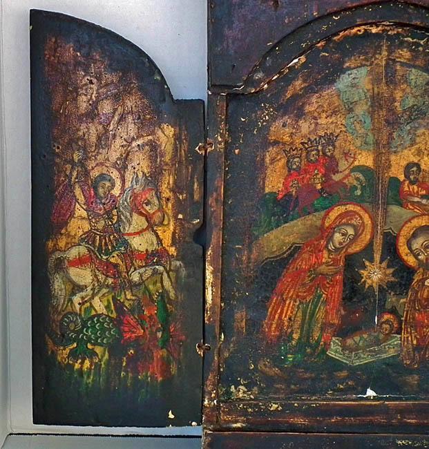 Antique 18th c Greek Post-Byzantine Orthodox Triptych Nativity Icon