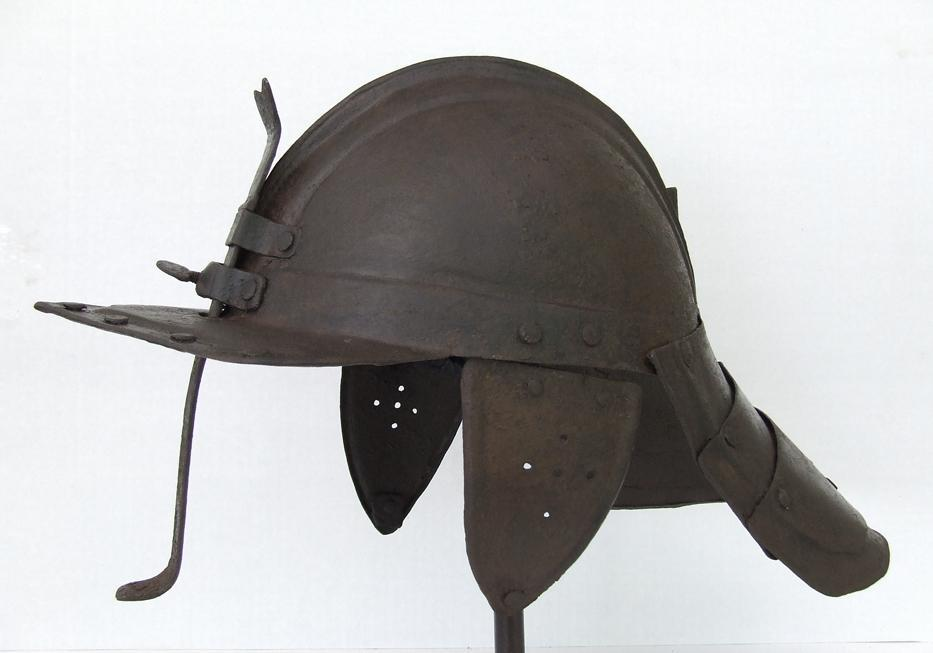 SOLD Antique 17th Century English Royalist Harquebusiers Cavalry Lobstertail Helmet Civil War 1642-1651
